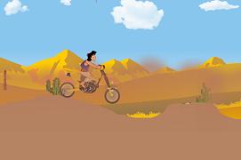 Aladdin cu motocicleta prin desert