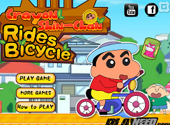 Crayon Shin Chan cu bicicleta