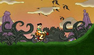 Familia Flinstone Fred cu motocicleta