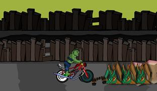 Super Hulk cu motocicleta