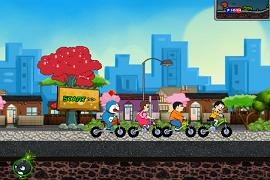 Doraemon curse cu bicicleta